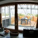 Blick zur überdachten Terrasse